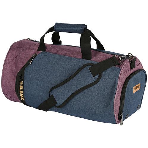 EleSac Canvas Style Round Gym Bag w/ Shoe Compartment Travel Duffel (Purple-Blu)