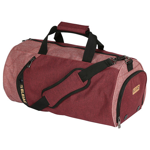 EleSac Canvas Style Round Gym Bag w/ Shoe Compartment Travel Duffel (Red-Pink)
