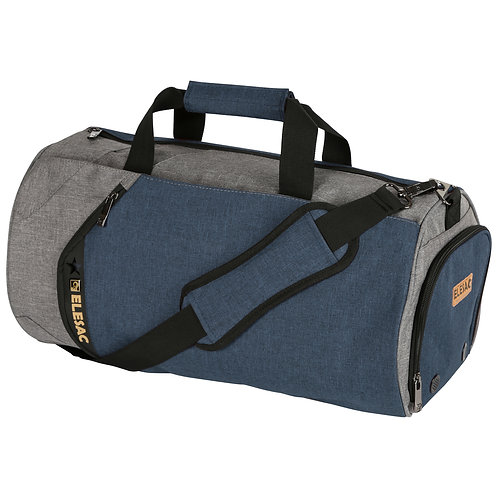 EleSac Canvas Style Round Gym Bag w/ Shoe Compartment Travel Duffel (Grey-Blue)