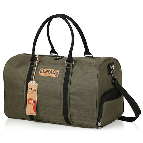 ELESAC Canvas Style Duffel Bag with Shoe Compartment - Green