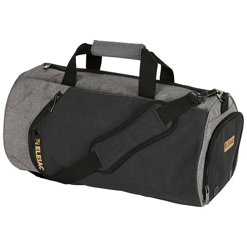 EleSac Canvas Style Round Gym Bag w/ Shoe Compartment Travel Duffel (Grey-Black)