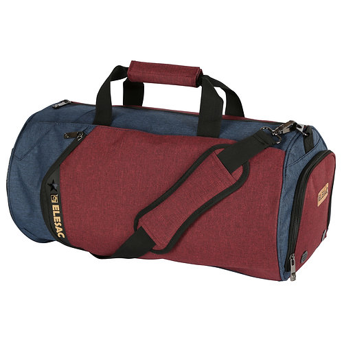 EleSac Canvas Style Round Gym Bag w/ Shoe Compartment Travel Duffel (Red-Blue)