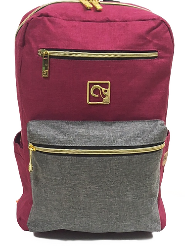Berry Red W/ Grey Pocket Back-Pack