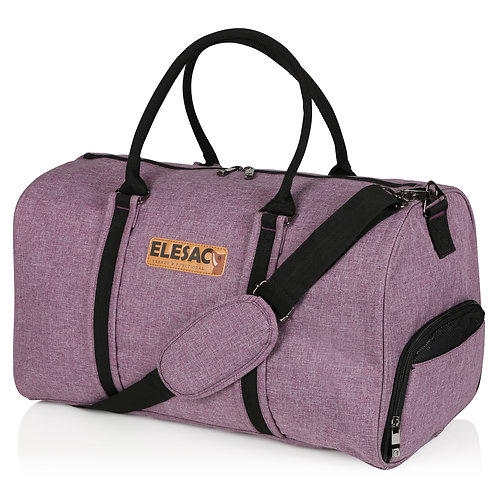 EleSac Canvas Style Duffel Bag with Shoe Compartment – Purple w/ Bl