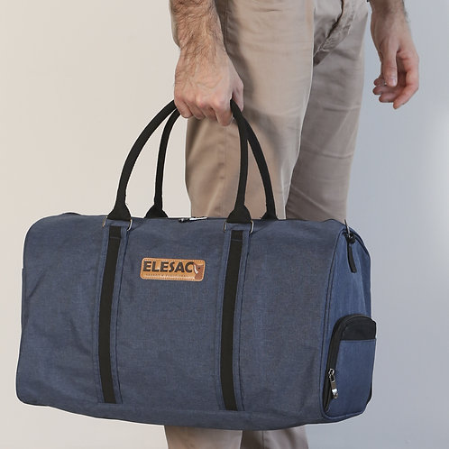EleSac Canvas Style Duffel Bag with Shoe Compartment – Blue w/ Bl
