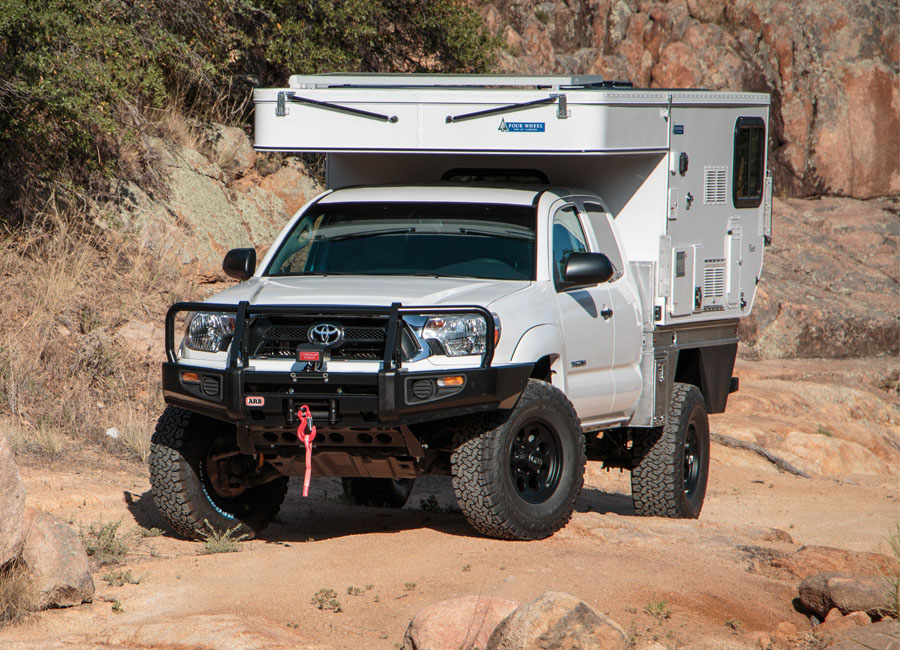 four_wheel_fleet_flatbed_toyota_tacoma_overland_vehicle_popup_camper_xp