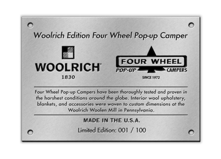 Woolrich-special-edition-four-wheel-camper-hawk-FD-label-patch-blanket