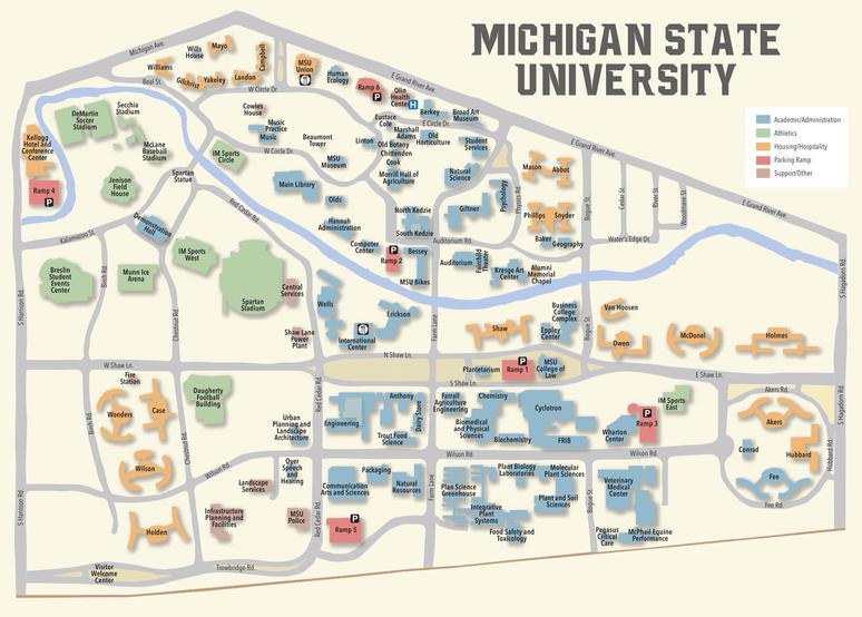 Locator Map of Michigan State University