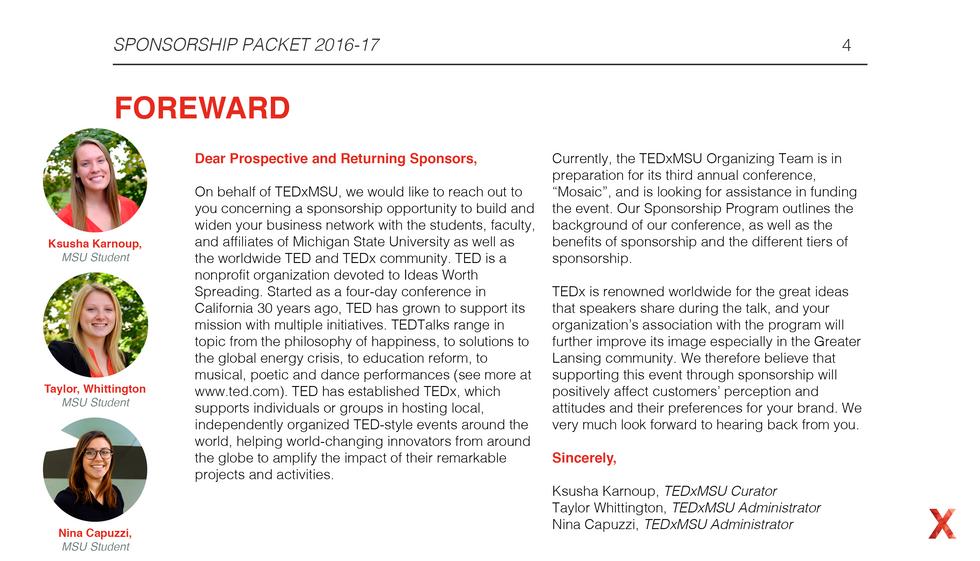 TEDxMSU Sponsorship Packet Sample