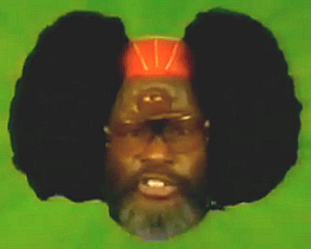 "This image of George Clinton is from ""Space Traders"", a short film written by Derrick Bell, Black critical theorists and fiction writer, with endemic racism as its theme."