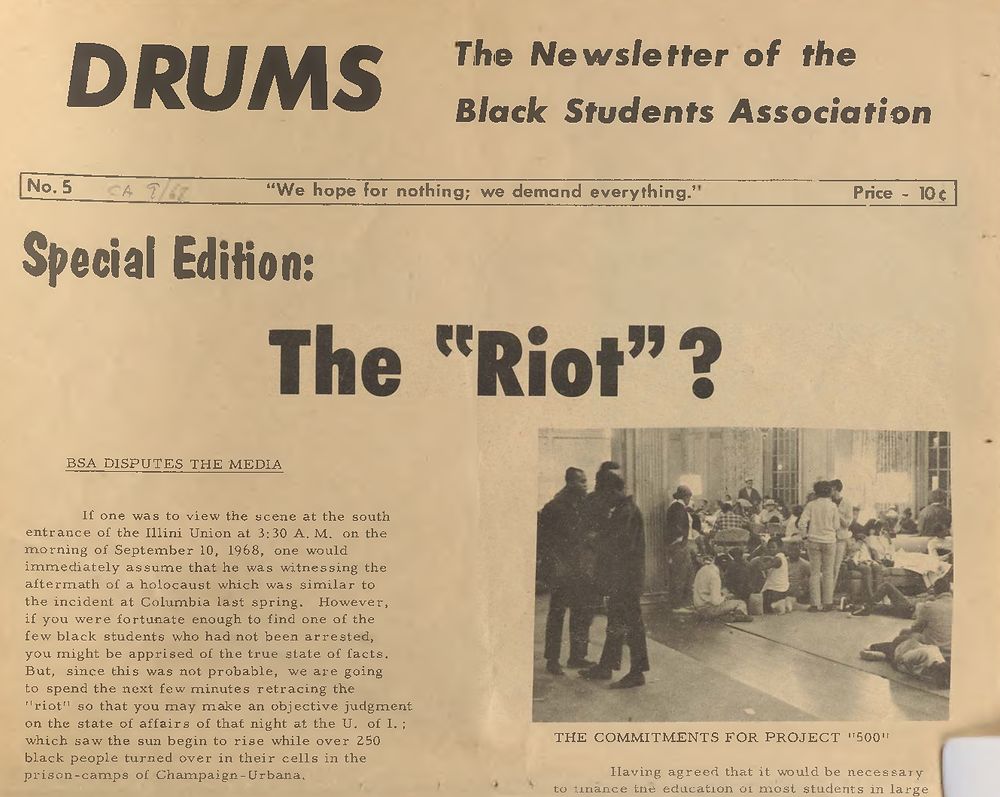 Fall 1968 issue of Drums - original black student publication.