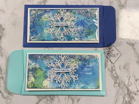 Mini Slimline Flat Shaker Snowflake Card   Prize Ribbon Distress Oxide Ink