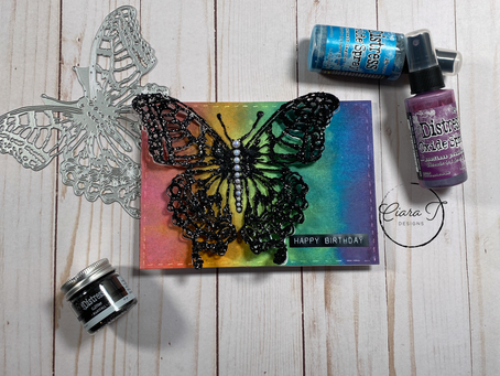 Rainbow and Sparkle 5 x 7 Butterfly Card   Tim Holtz Perspective Butterfly Die