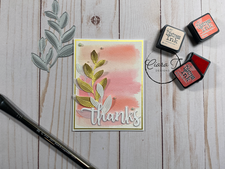 Pink, White and Gold Laurel Leaves Watercolour Card   Simon Says Stamp Laurel Leaves Dies