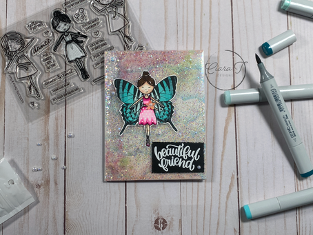 Beautiful Butterfly Girl Full Front Shaker Card   Simon Says Stamp Dance and Twirl Stamp Set