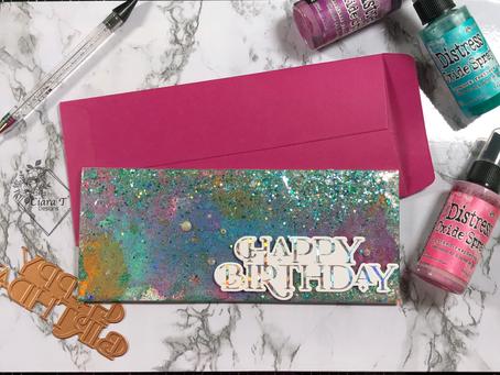 Flat Shaker Slimline Holographic Birthday Card