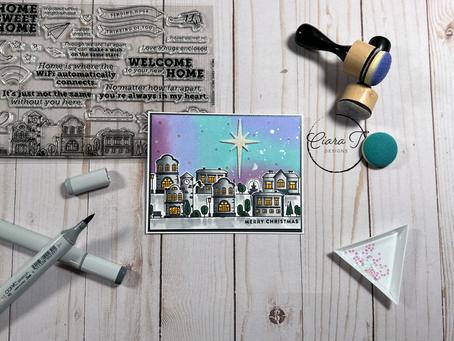 Cityscape Christmas Card   Simon Says Stamp Home Sweet Home Stamp Set