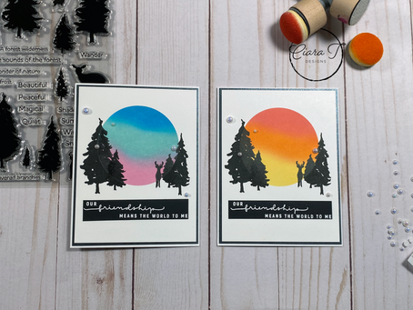 Silhouette Distress Oxide Blended Cards   Simon Says Stamp Forest Scenery Stamp Set