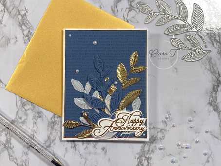 Navy, White and Gold Anniversary Card   Simon Says Stamp Etched Laurel Leaves Dies