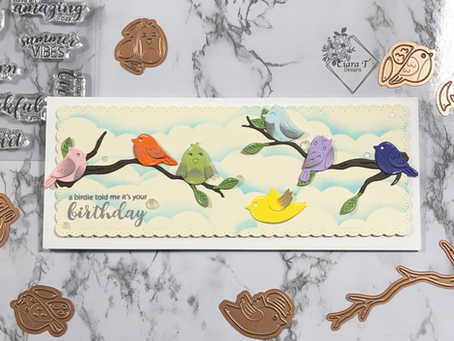 All The Birds Slimline Birthday card   Spellbinders Sweet Birds on a Branch Dies