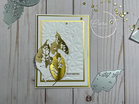 Elegant Gold and White Leaf Christmas Card   Tim Holtz Leaf Fragments Dies
