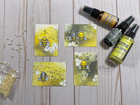 Distress Mica Stain Bee Artist Trading Cards   Simon Says Stamp Bee Yourself Stamp Set