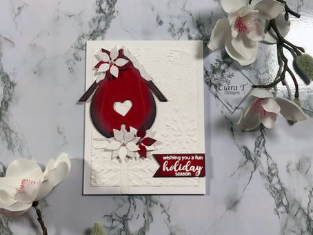 Stunning Red and White Christmas card   Winter build a birdhouse dies