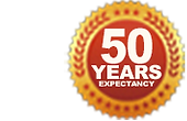 50 year life expectancy icon for rubber roofing kits