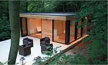 Garden room with 1- piece membrane rubber roof