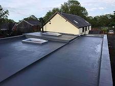 fibreglass roof with upstnds and skylights