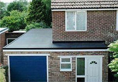 Attached garage and porch rubber roof extension