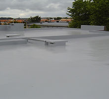 One coat liquid waterproofer, ElastaThane 25 applied to roof with multiple upstand details