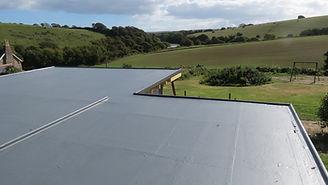Fibreglass (GRP) roof inc expansion trim and edging trims