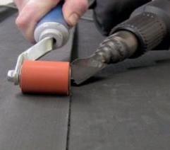 Seam roller and heat gun to Resitrix epdm membrane