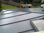GRP fibreglass roofing with skylight