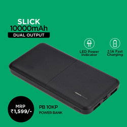 Zazz Slick 10000 mAh Power Bank (BLACK)