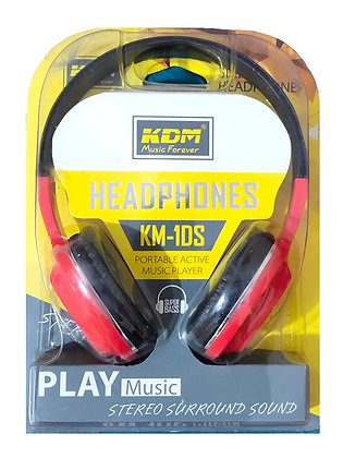 KDM Stereo Surround Sound Headphones KM-1DS Theater Type Heavy Bass Sound (Red)