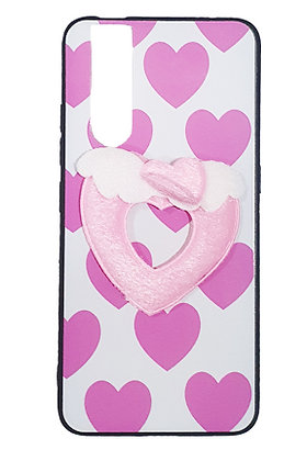 Soft TPU Case with Hard Back Plastic Printed and Soft Pink Heart for Vivo V15 Pr
