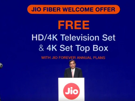 Reliance Jio Giga Fiber announced ; plans starts RS 700/pm