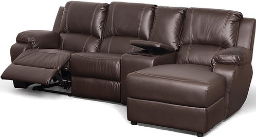Calgan 4 Section 1 Action Recliner Leather Upper Couch