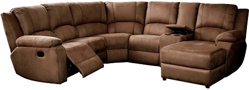 Calgan 5 Str 1 Action Corner + Chaise + Console Fabric Set