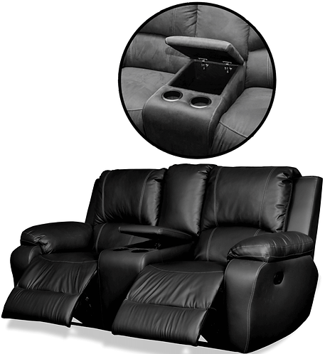 Calgan 2 Seater Recliner + Console Full Leather Couch