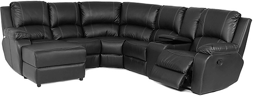 Calgan 5 Str 1 Action Corner + Chaise + Console Full Leather Set