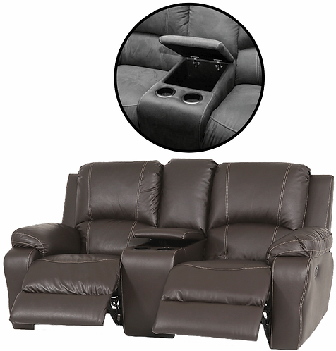 Calgan 2 Seater Recliner + Console Leather Upper Couch