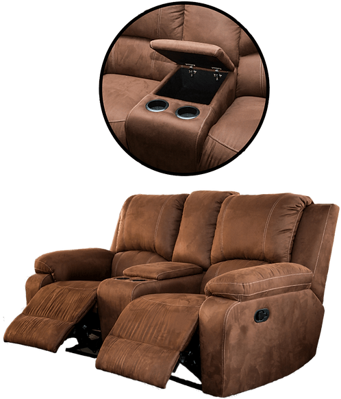Calgan 2 Seater Recliner + Console Fabric Couch