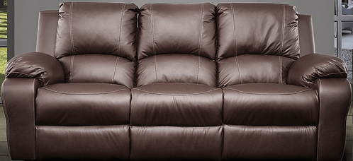 Calgan 3 Seater Static Full Leather Couch