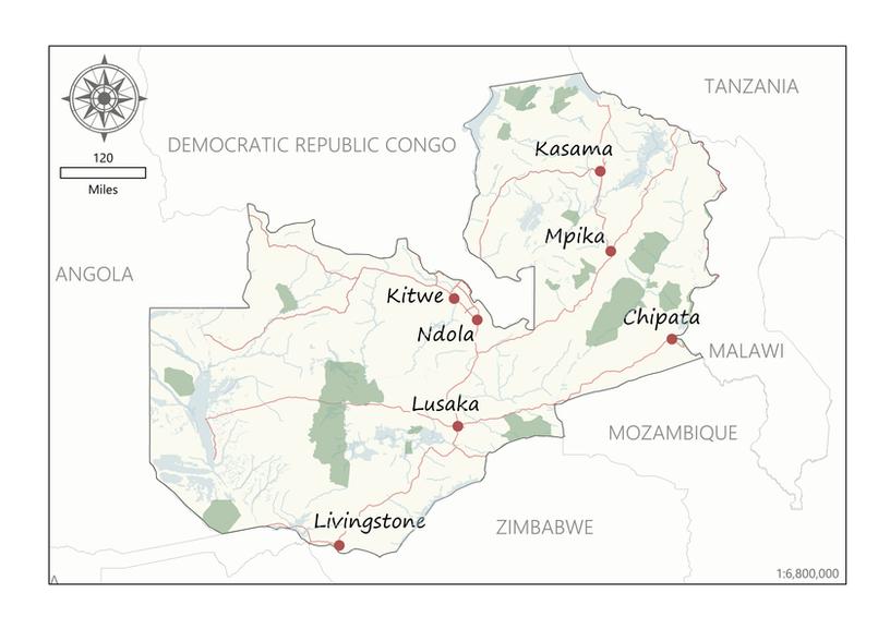Location Map - Zambia