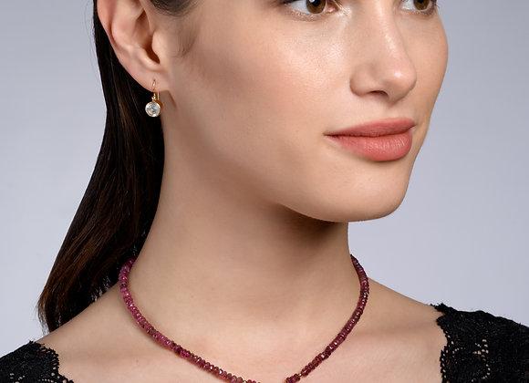 Rachel Garnet and Moonstone Gold Necklace