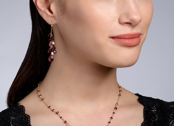 Hadar Garnet and Pearl Gold Necklace
