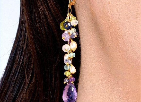 Spring Cluster Eshkol Amethyst Blue Topaz and Pearl Gold Earrings